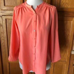 💜Bar lll Small Orange Button Up Long Sleeve Top